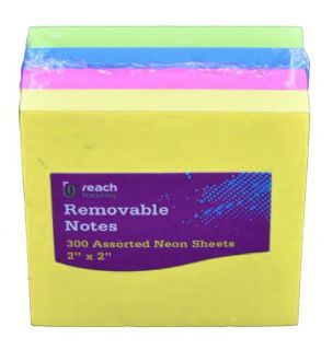 Reach Stationery Removable Notes Mini 300 Assorted Neon
